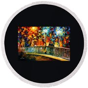 Date On The Bridge - Palette Knife Oil Painting On Canvas By Leonid Afremov Round Beach Towel