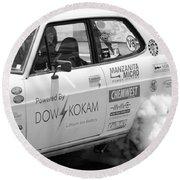 Datsun Smoking Tires Round Beach Towel
