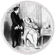 Daumier: Doctor Cartoon Round Beach Towel
