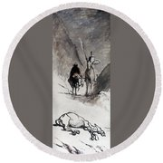 Daumier: Don Quixote Round Beach Towel