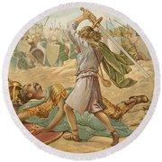 David About To Slay Goliath Round Beach Towel by John Lawson