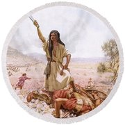 David And Goliath Round Beach Towel by William Brassey Hole