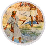 David And Goliath Round Beach Towel