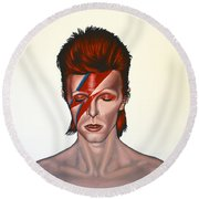 David Bowie Aladdin Sane Round Beach Towel by Paul Meijering