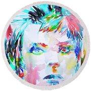 David Bowie - Watercolor Portrait.6 Round Beach Towel