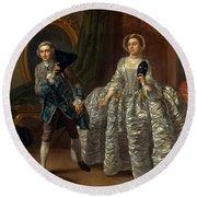 David Garrick And Mrs. Pritchard In Benjamin Hoadley's The Suspicious Husband  Round Beach Towel