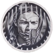 David Gilmour Of Pink Floyd - Echoes Round Beach Towel by Sean Connolly