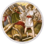 David Slaying Goliath Round Beach Towel