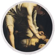 David Victorious Over Goliath Round Beach Towel by Michelangelo Merisi da Caravaggio