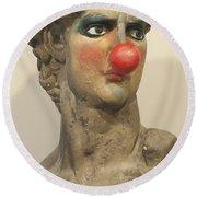 David With Makeup And Clown Nose 1 Round Beach Towel