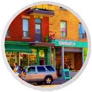 Davids Tea Room Rue St Viateur Next To The Bagel Shop Montreal Street Scene Art Carole Spandau   Round Beach Towel