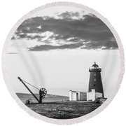Davit And Lighthouse On A Breakwater Round Beach Towel