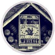 Davy Crocketts Tennessee Whiskey Round Beach Towel
