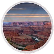 Dawn At Dead Horse Point Round Beach Towel