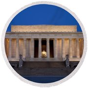 Dawn At Lincoln Memorial Round Beach Towel