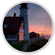 Dawn At Portland Lighthouse Round Beach Towel