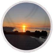 Dawn By The Ocean Round Beach Towel