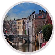 Dawn In Bruges Round Beach Towel