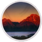 Dawn Light On The Tetons Grant Tetons National Park Wyoming Round Beach Towel