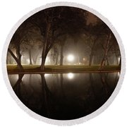Dawn Mist Rising At Sycamore Pool  Round Beach Towel