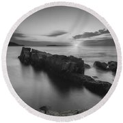 Dawn Of A New Day Bw Round Beach Towel