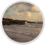 Dawn On The Coral Sea Round Beach Towel
