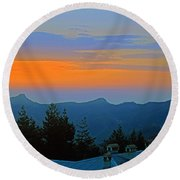 Dawn Over Cross Forest Round Beach Towel