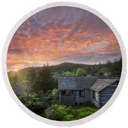 Dawn Over Leconte Round Beach Towel by Debra and Dave Vanderlaan