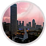 Dawn Over Singapore Round Beach Towel
