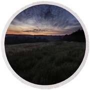 Dawn Over The Hills Round Beach Towel
