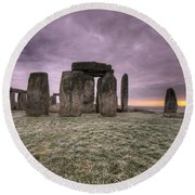Dawn Over The Stones  Round Beach Towel