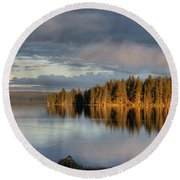Dawn Reflections On Pelican Bay Round Beach Towel