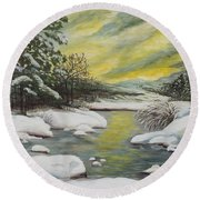 Dawning Of A Winter Day Round Beach Towel
