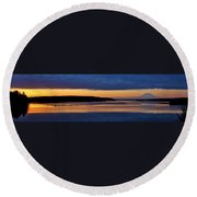 Dawning Of The Mountain Round Beach Towel