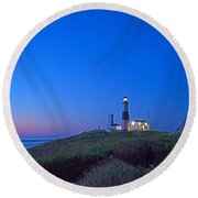 Dawn's Early Light At Montauk Point Round Beach Towel