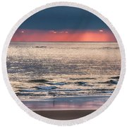 Dawns Red Sky Reflected Round Beach Towel