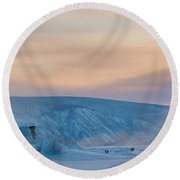 Dawson City Ice Bridge Round Beach Towel by Priska Wettstein