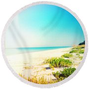 Day At The Beach Photography Light Leaks Round Beach Towel