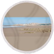 Day At The Moroccan Fishing Village Round Beach Towel