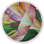 Day Lilies Round Beach Towel