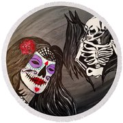 Day Of The Dead Good Vs Evil Round Beach Towel
