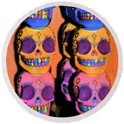 Day Of The Dead Ink Round Beach Towel