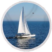 Day On The Bay Round Beach Towel