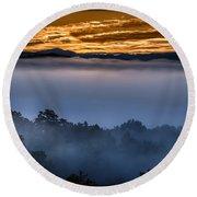 Daybreak Coming To The Smoky Mountains E150 Round Beach Towel