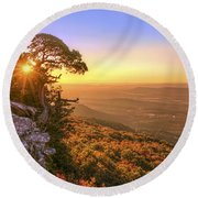 Daybreak On Mt. Magazine - Arkansas - Cedar Tree - Autumn Round Beach Towel