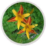Frans Hall Daylily Attention Getter Round Beach Towel