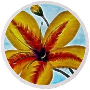 Daylily Expressive  Brushstrokes Round Beach Towel