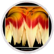 Daylily Flower Abstract 2 Round Beach Towel
