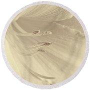 Daylily Flower Soft Brown Round Beach Towel