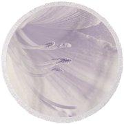 White Daylily Flower Soft Lavender Round Beach Towel